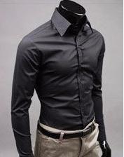 Mens Slim fit Unique Neckline stylish Dress long Sleeve Shirts – Black / L