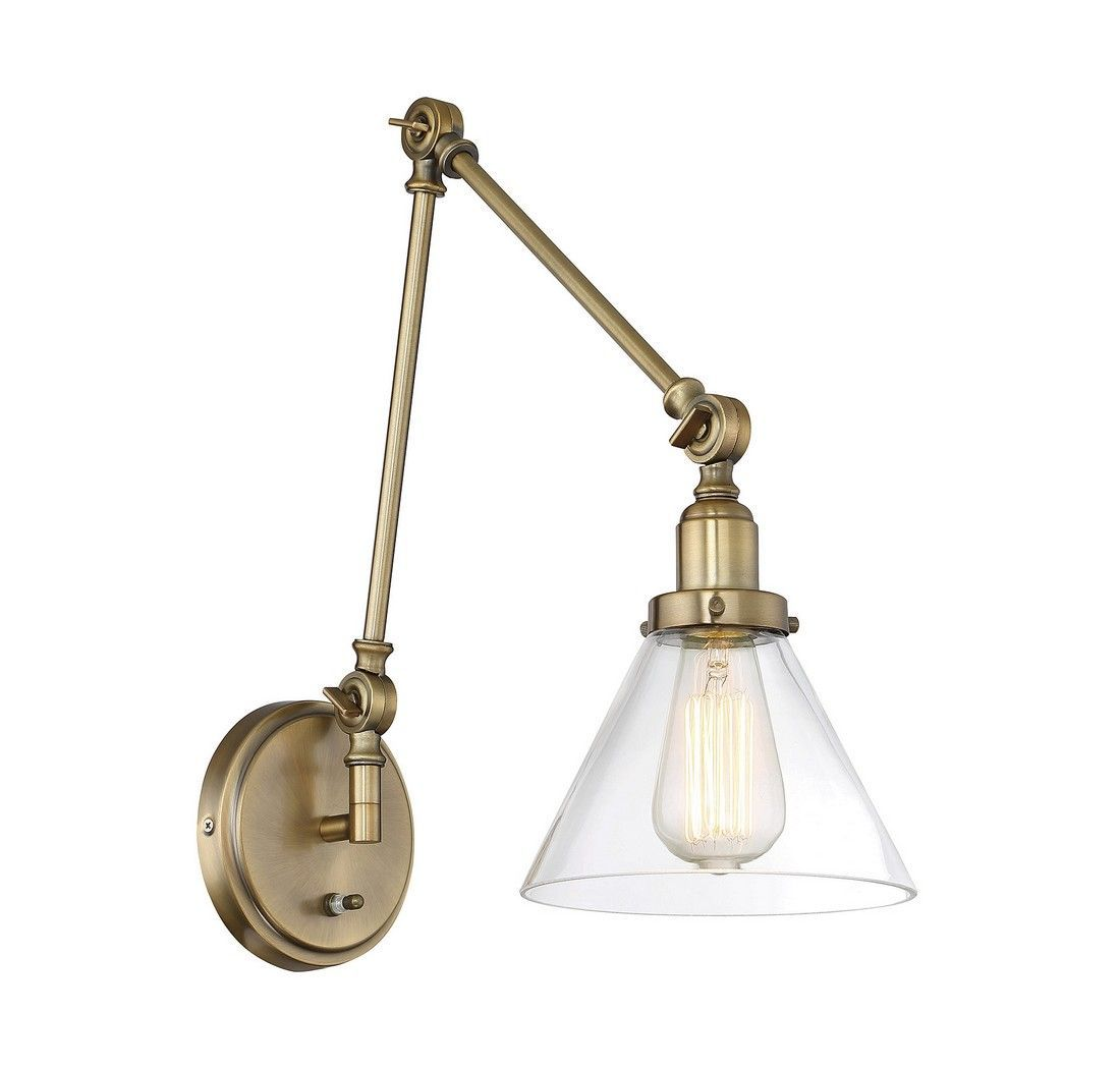 Savoy House Drake 1-Light Adjustable Sconce In Warm Brass