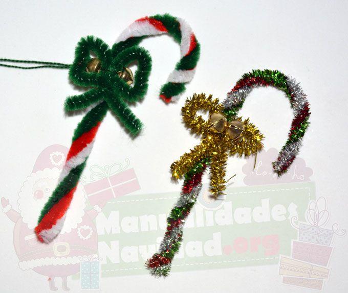 Bastones navideños con limpiapipas » http://manualidadesnavidad.org ...