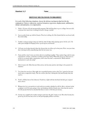 Defense Mechanisms Psychology Worksheet Defense Mechanisms