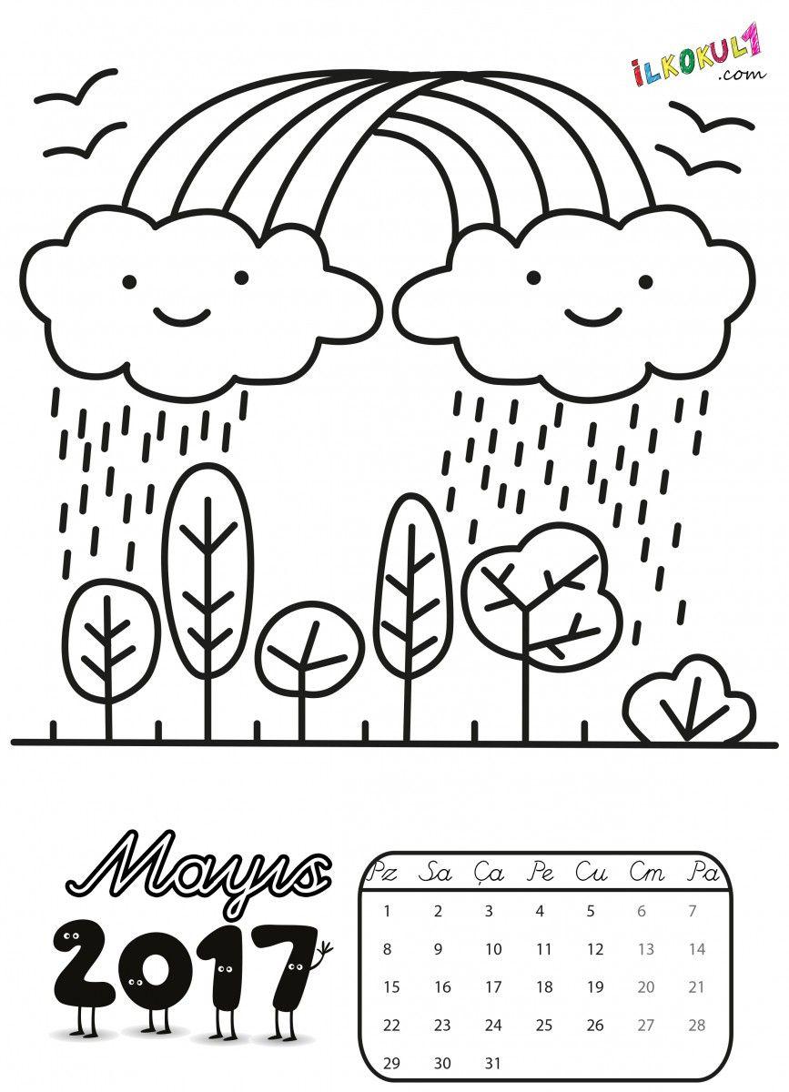 2017 Takvim Boyama Sayfalari 11 Yeniyıl Dibujos Ve Manualidades