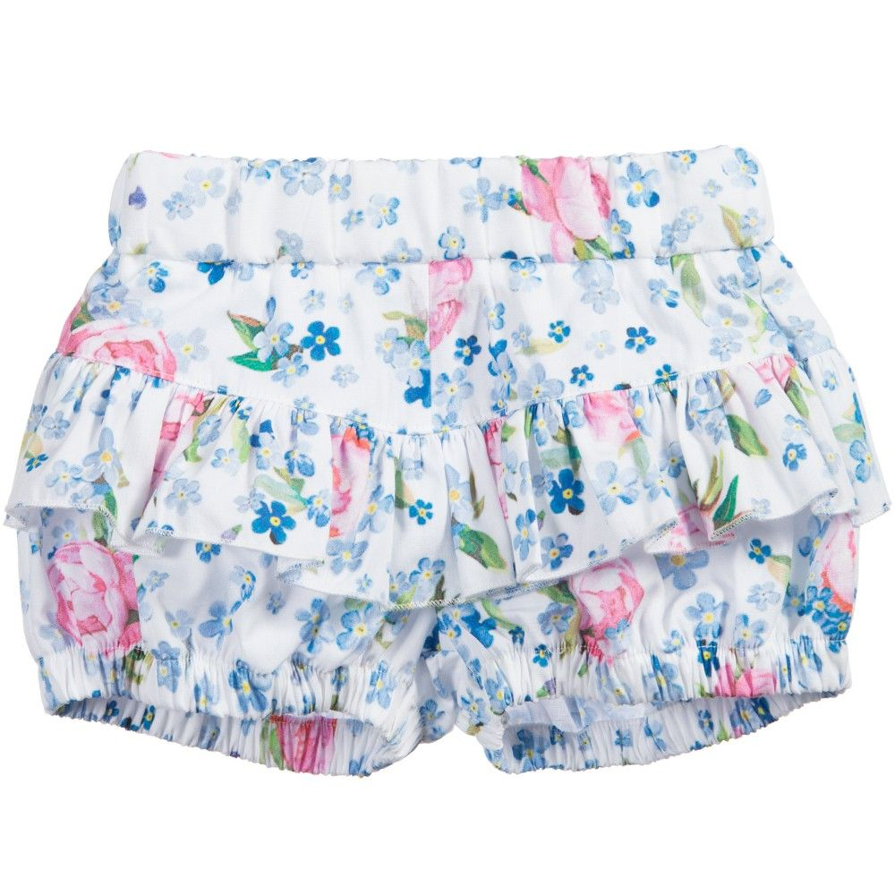 b39e66a4a Monnalisa Bebe - Baby Girls Blue   Pink Floral Cotton Shorts ...