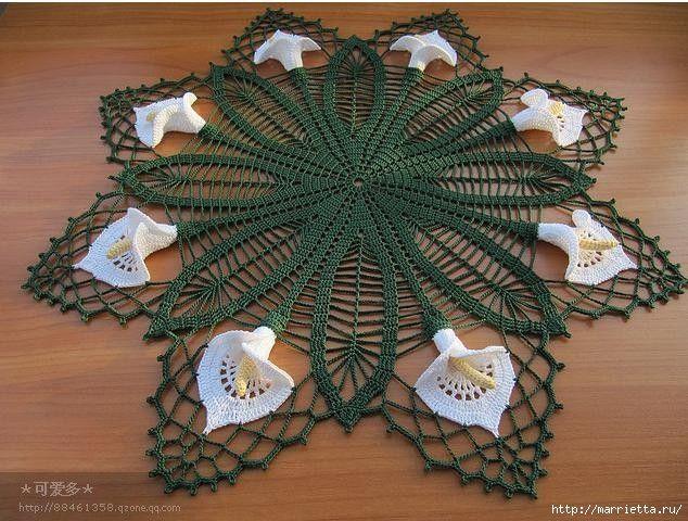 Круглая салфетка крючком с цветами КАЛЛАМИ (2) (634x480, 228Kb ...