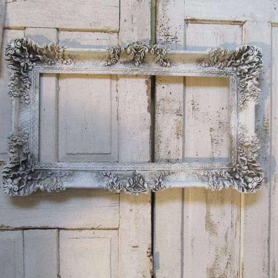 Large Distressed Wall Decor : French farmhouse large frame ornate wall decor painted in