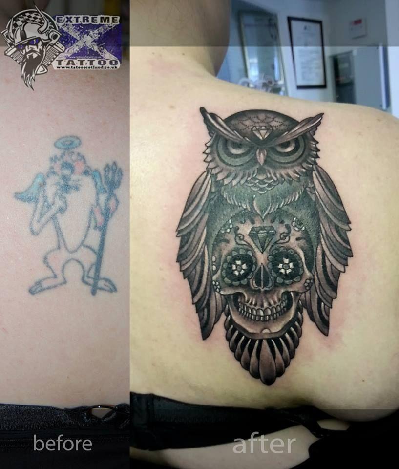 Owl Sugar Skull Cover Up Tattoo Extreme Tattoo Cover Up Tattoos Cover Tattoo Feather Tattoos