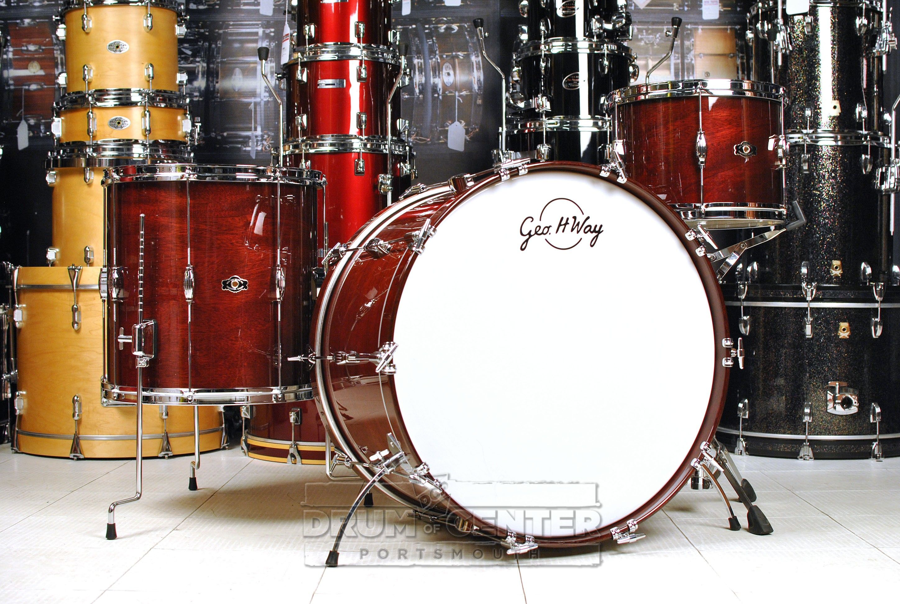 George Way Tradition Mahogany Drum Set 24 13 16 Wine Red Gloss Drums Drum Set Wine Red