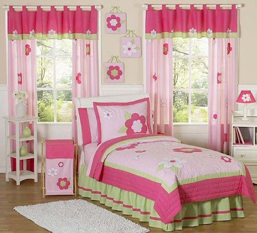 Floral Pink Green Bedding Twin Or Full Queen Kids Comforter Sets