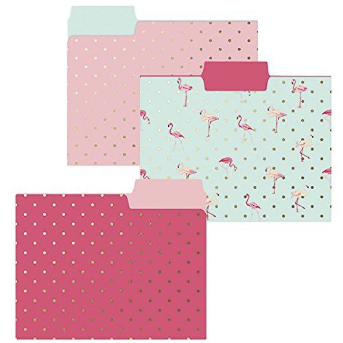 Flamingo Pink File Folder Set - 9 folders in 3 pink tropical designs