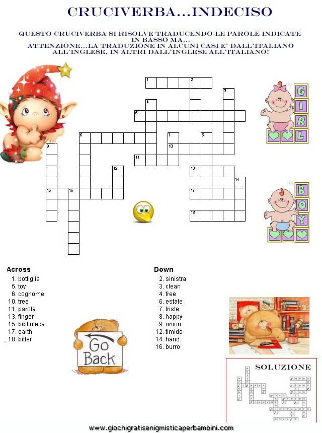 Cruciverba crossword enigmistica per bambini e ragazzi for Cruciverba facile da stampare