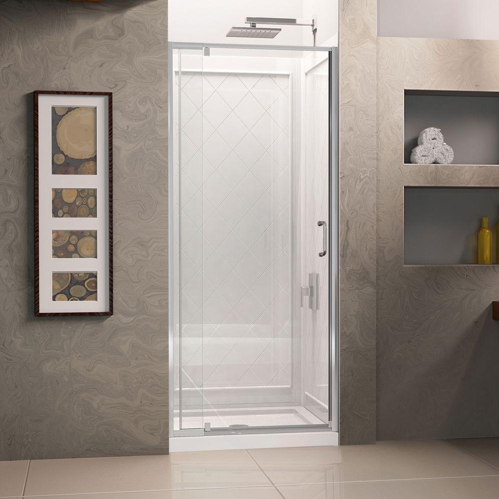 DreamLine Flex 36 in. x 36 in. x 76.75 in. Pivot Shower Kit Door in ...