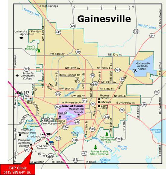 florida map showing gainesville
