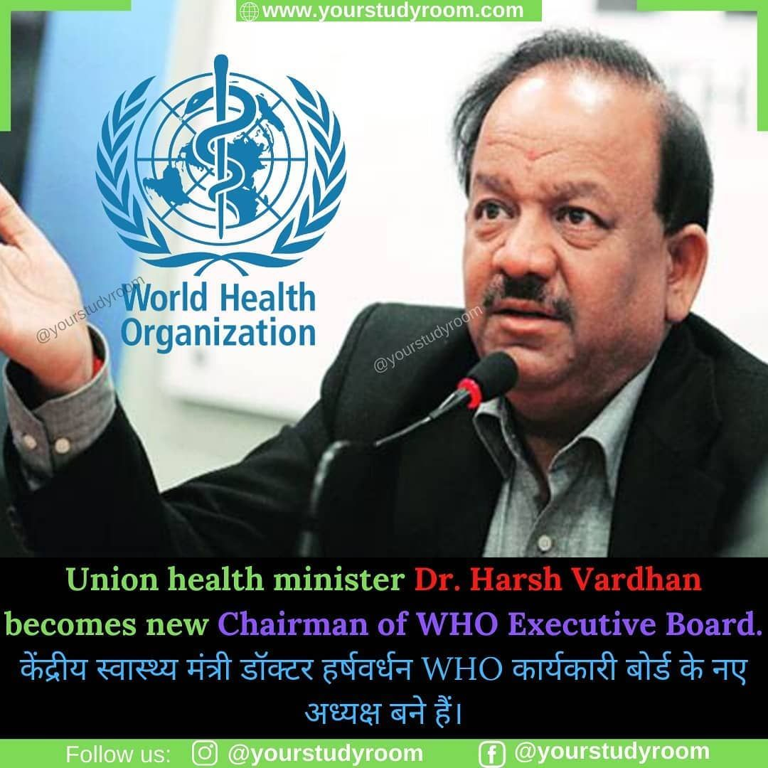 Union health minister of India, Dr. Harsh Vardhan has been