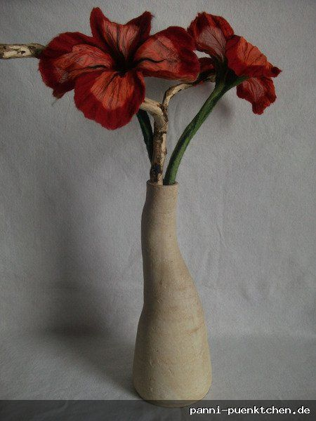 Filzblume Mohnblume Seidenblume Handgefilzt Filzblumen Seidenblumen Danke Blumen