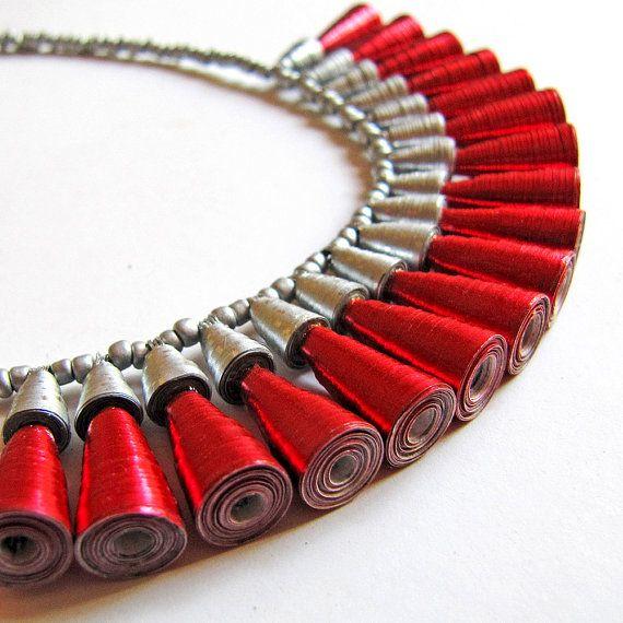 Abbagliante collana amore per lei  rosso e argento collana