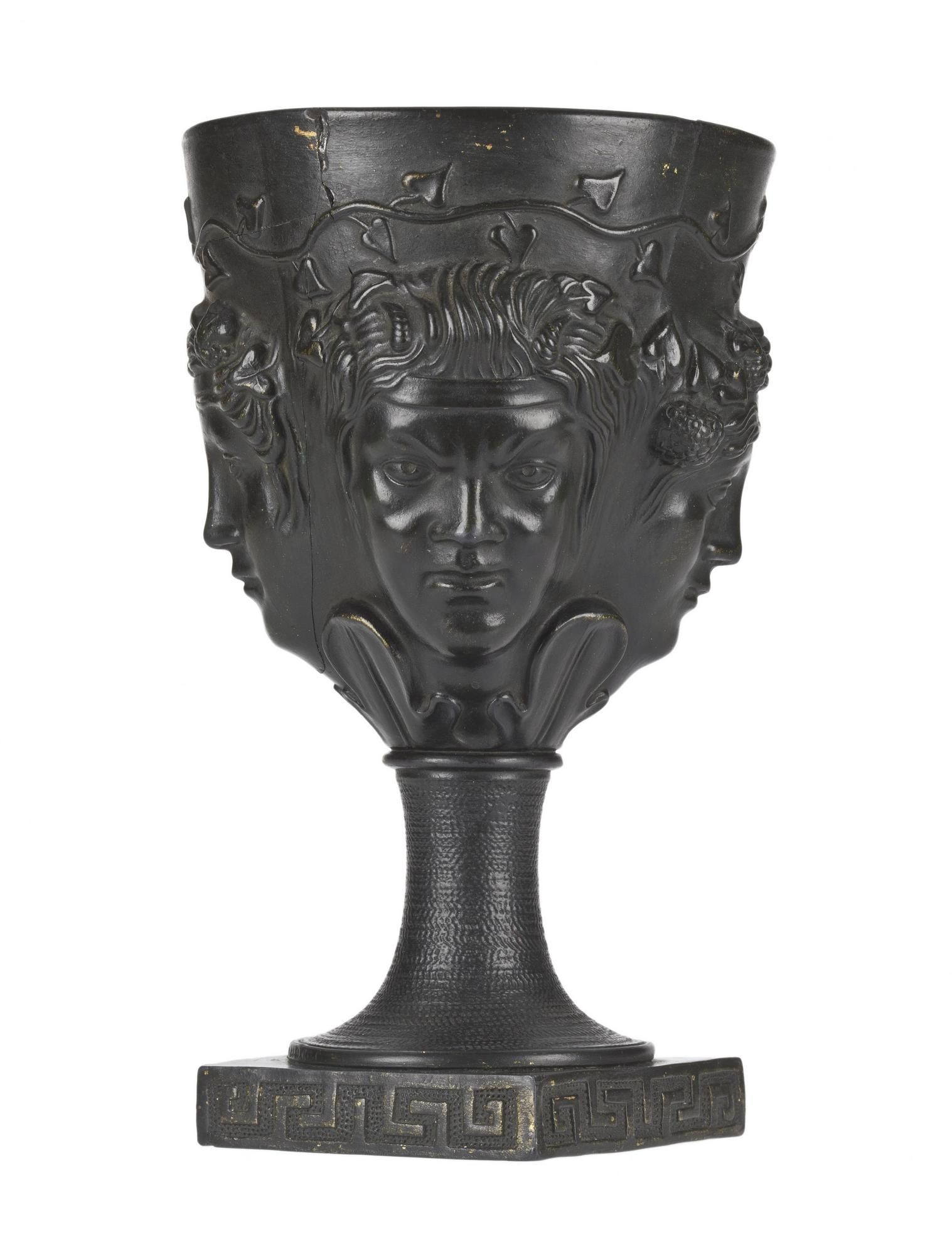 Goblet of 'Egyptian black' eartheware, bowl moulded in high