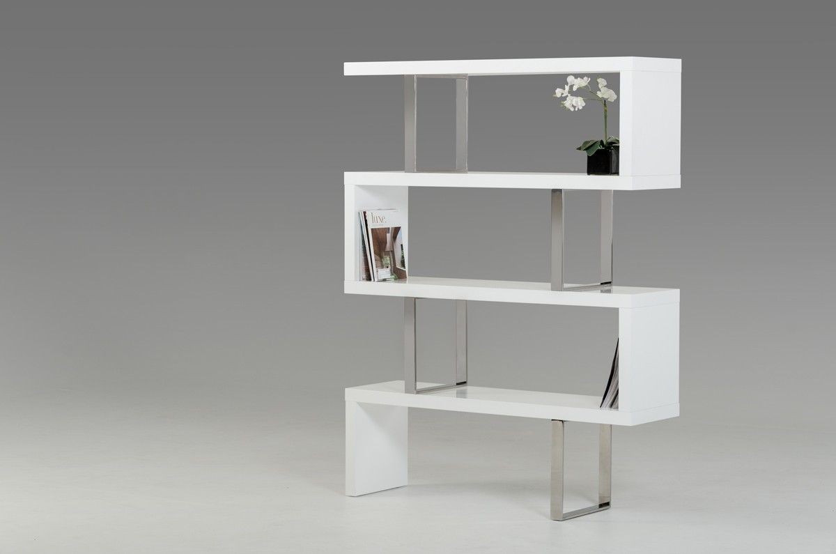 modrest maze modern white high gloss bookcase  high gloss modern  - modrest maze modern white high gloss bookcase