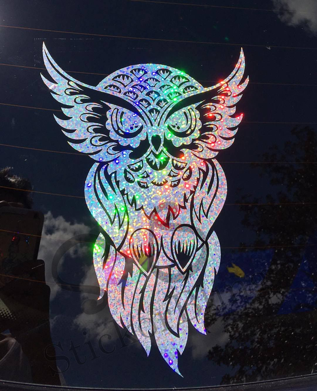 Owl Tribal Glitter Holographic Vinyl Decal Sticker Car Window - Transfer tape for vinyl decals