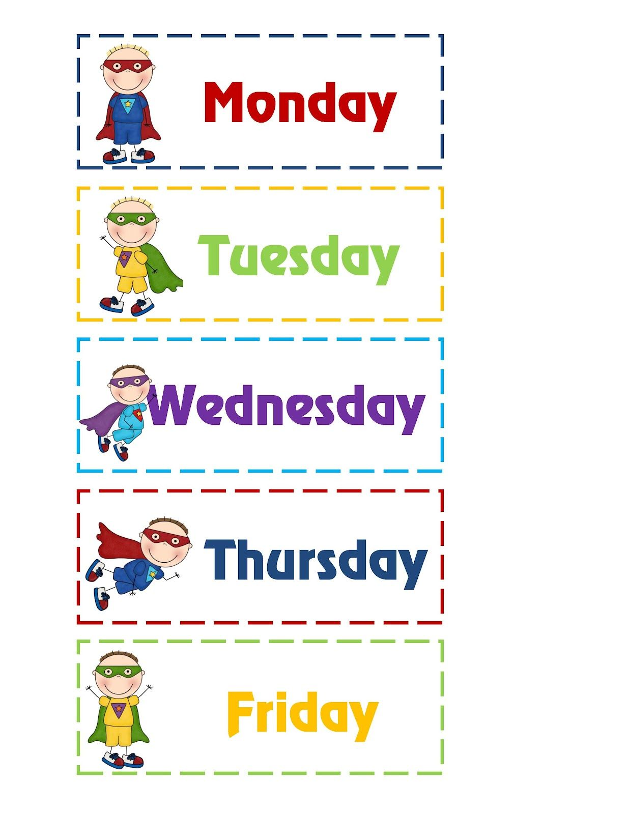 Days of the week graphic - good for All for Books ...