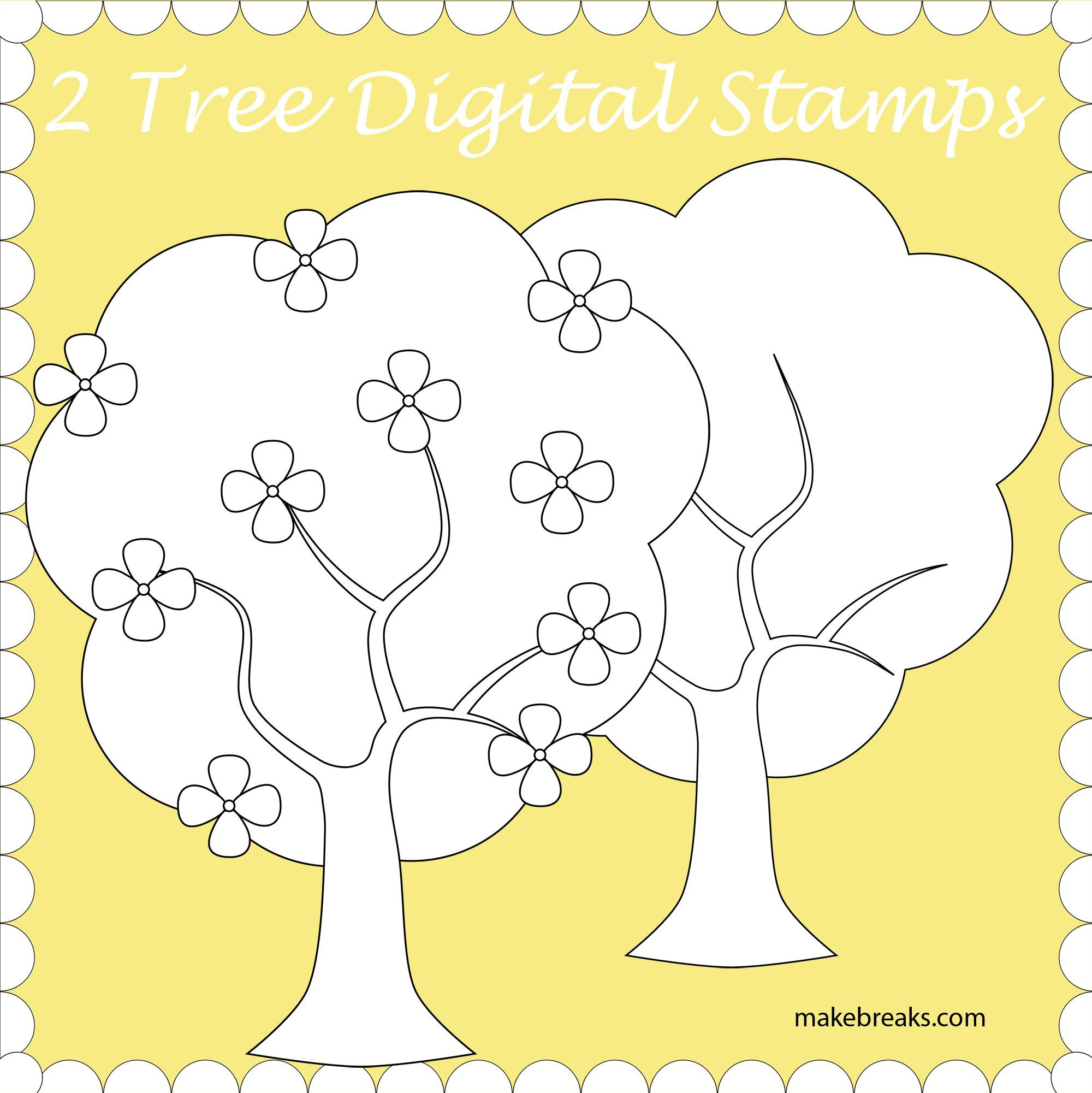 Free Trees Digital Stamp Digital stamps free, Digital