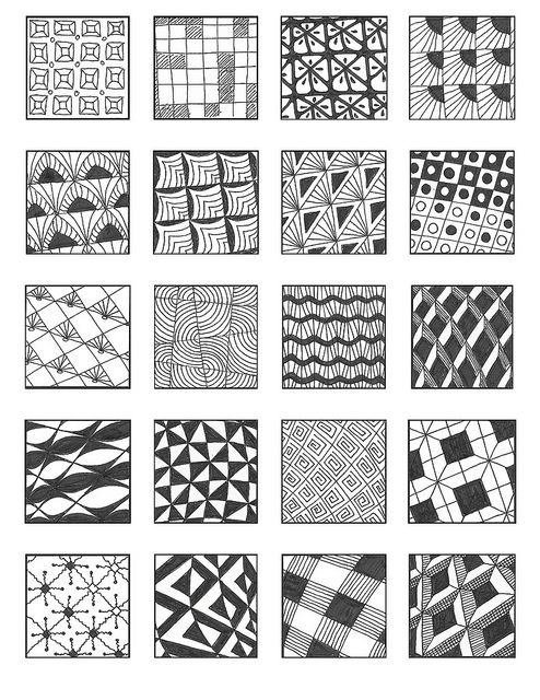 Grid 2 zentangle patterns zentangle and patterns for Basic doodle designs