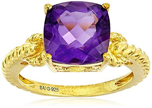 Sterling Silver with Yellow Gold Plated Amethyst Cushion Cut Ring Size 7 *** Click image to review more details.