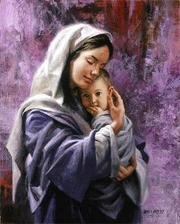 "James Seward Mother And Child By James Seward Giclee On Canvas Open Edition Signed #JamesSeward #Inspirational. ""Behold, a virgin shall conceive, and bear a son and shall call his name Immanuel."" ISAIAH 7:14 Artist James E. Seward is also an ordained minister. His wife Lyn is also an artist as are their three sons."