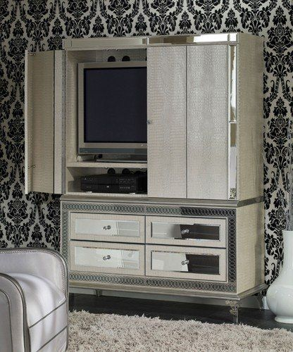 AICO Hollywood Swank Media Cabinet By Michael Amini AI 03081 $2599.00
