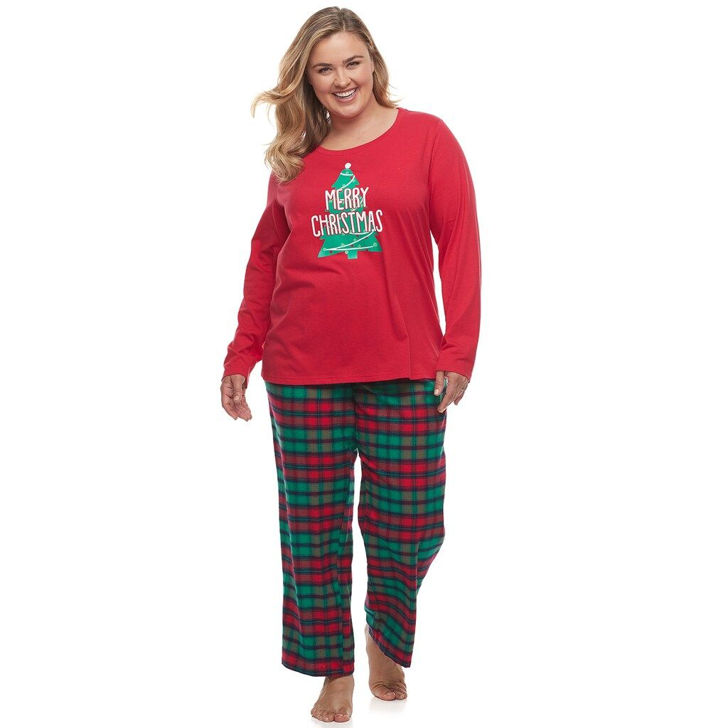 Plus Size Jammies For Your Families Red Plaid Merry Christmas Family Tee Pants Pajama Set Family Tees Merry Christmas Family Pajama Set