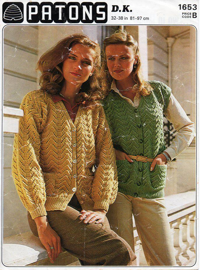 Vintage Womens Cardigan Waistcoat Knitting Pattern Pdf Dk Ladies