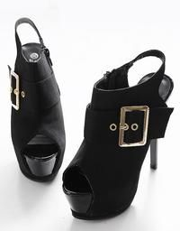 Black Peep Toe Wide Buckle Sling Back Ladies Platform Heels