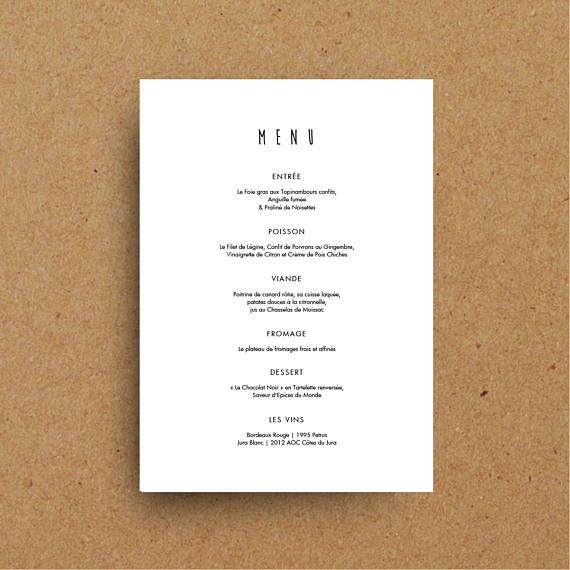 Printable Wedding Menu Template, Design Menu Cards, Restaurant ...