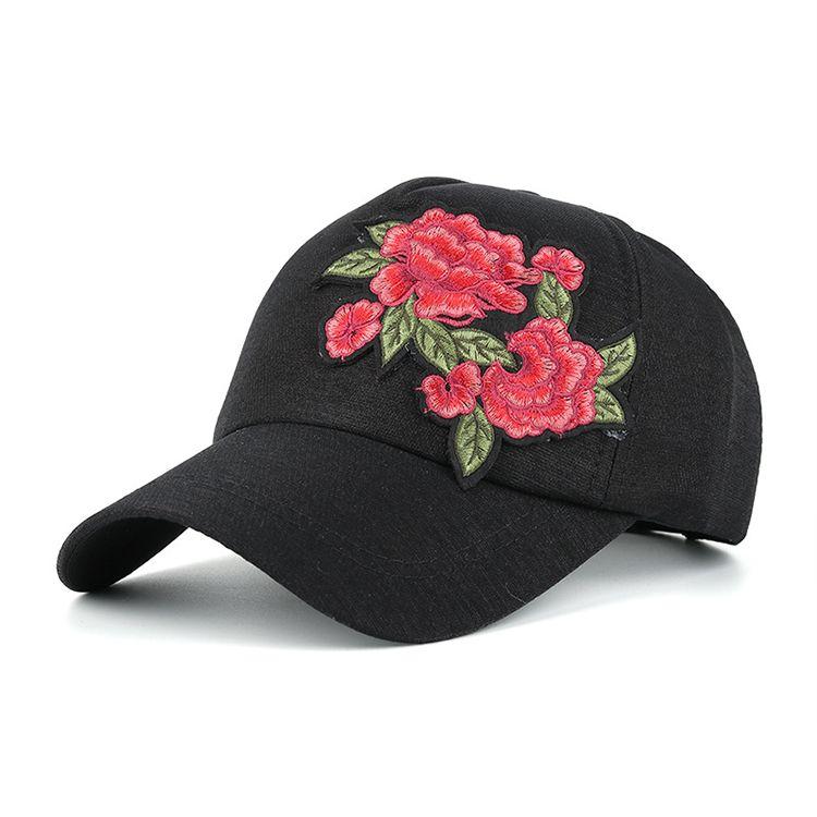 Wholesale custom cheap embroidery cotton baseball cap rose  27d3ced81588