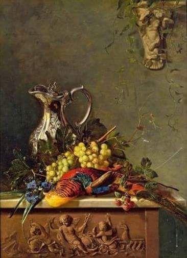 Francina Louise Schot (Dutch painter) 1816 - 1894 Stillleben mit Fasan und Silberkanne, s.d. oil on wood 93 x 68 cm. (36.6 x 26.8 in.)