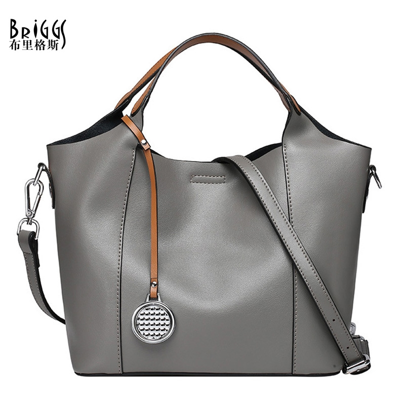 45.00$  Watch here - http://alitah.worldwells.pw/go.php?t=32772798177 - BRIGGS Designer Handbags High Quality Genuine Leather Bags Solid Casual Tote Luxury Handbags Women Bags Shoulder Bag Women