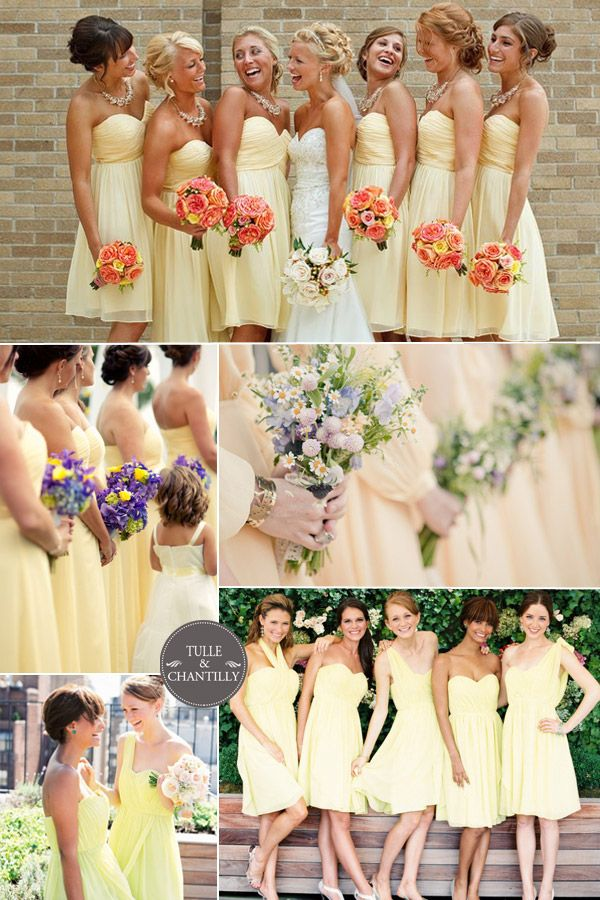 2015 Soft Melon Yellow Wedding Color Ideas And Bridesmaid Dresses Trends Tulleandchantilly