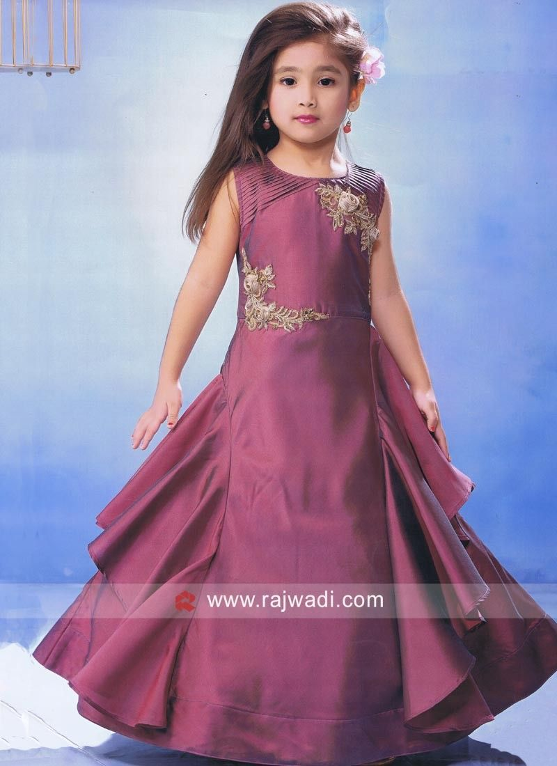 Gorgeous yet stylish this wine color designer gown made from silk fabric sleeveless readymade is enhanced with golden embroidery work on it also latest kids party wear frocks for girls rh pinterest