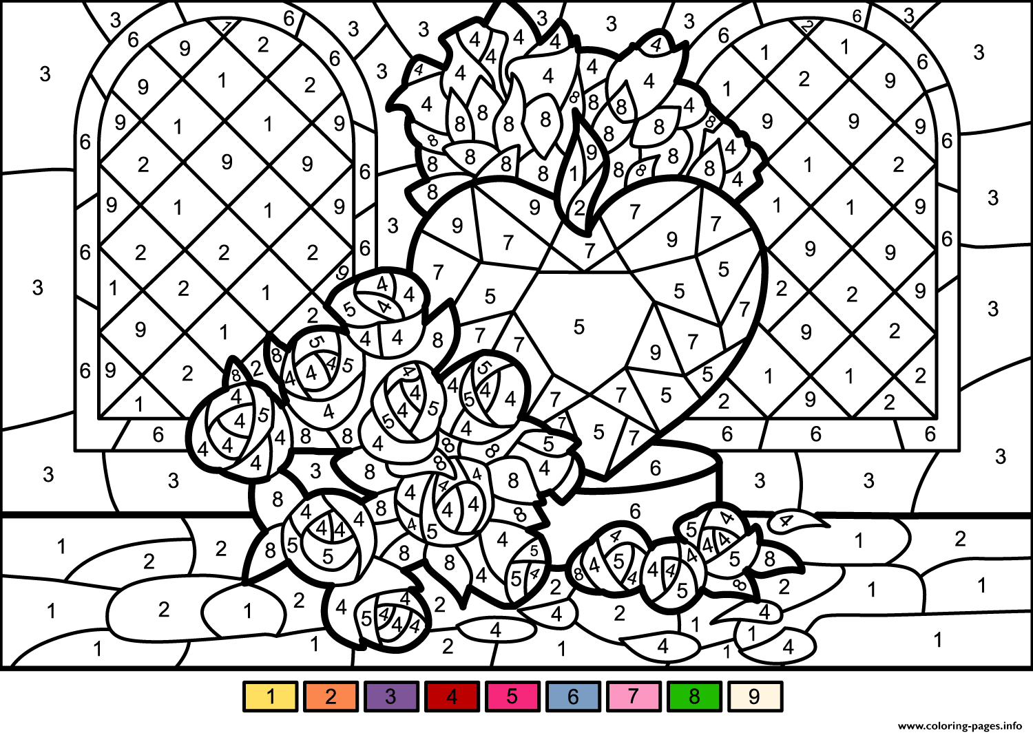 Print Roses And Heart Color By Number Coloring Pages In