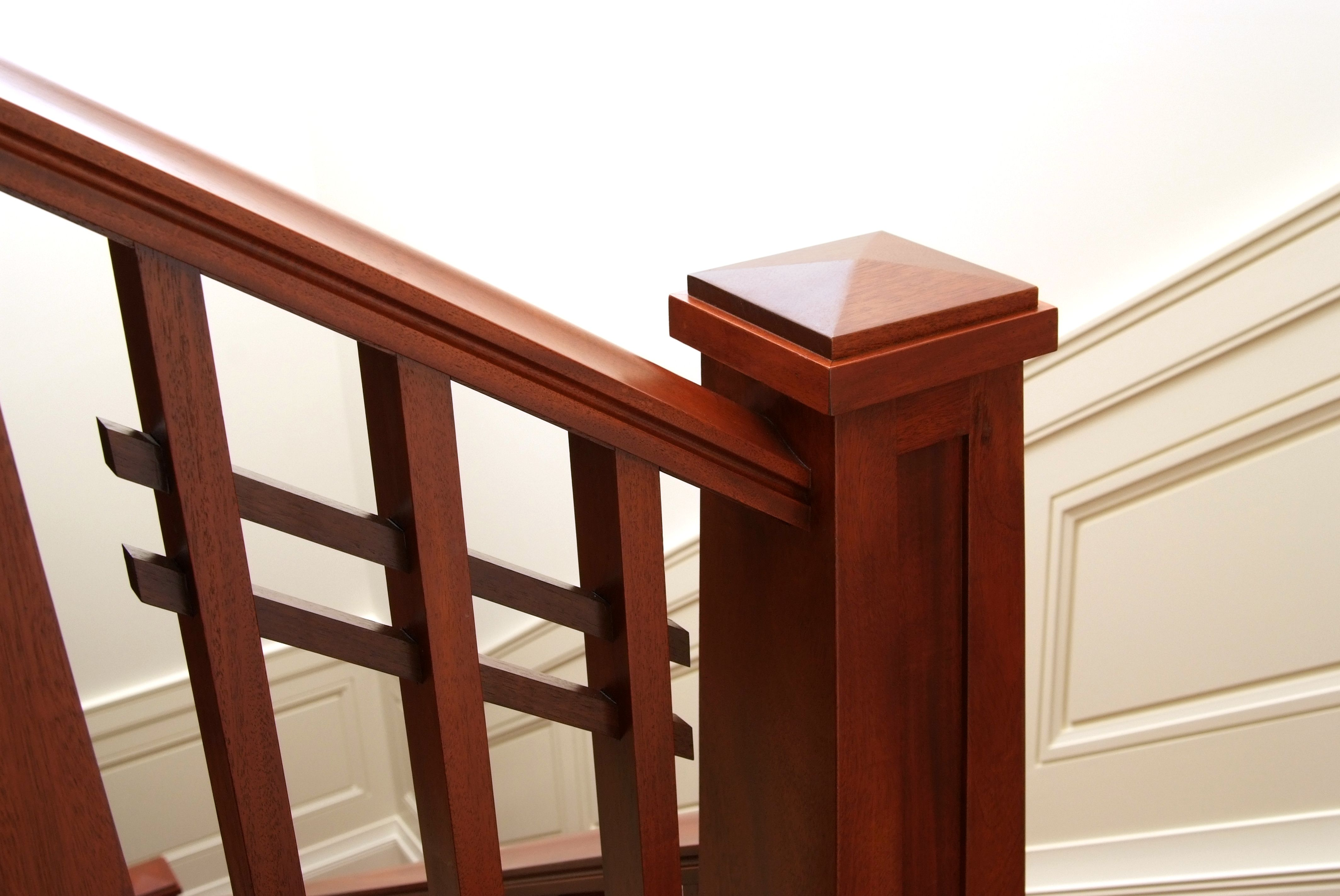 Custom Craftsman Mahogany Handrail, Square Balusters And Pyramid Cap Newel  Post With Walnut Horizontal Slats