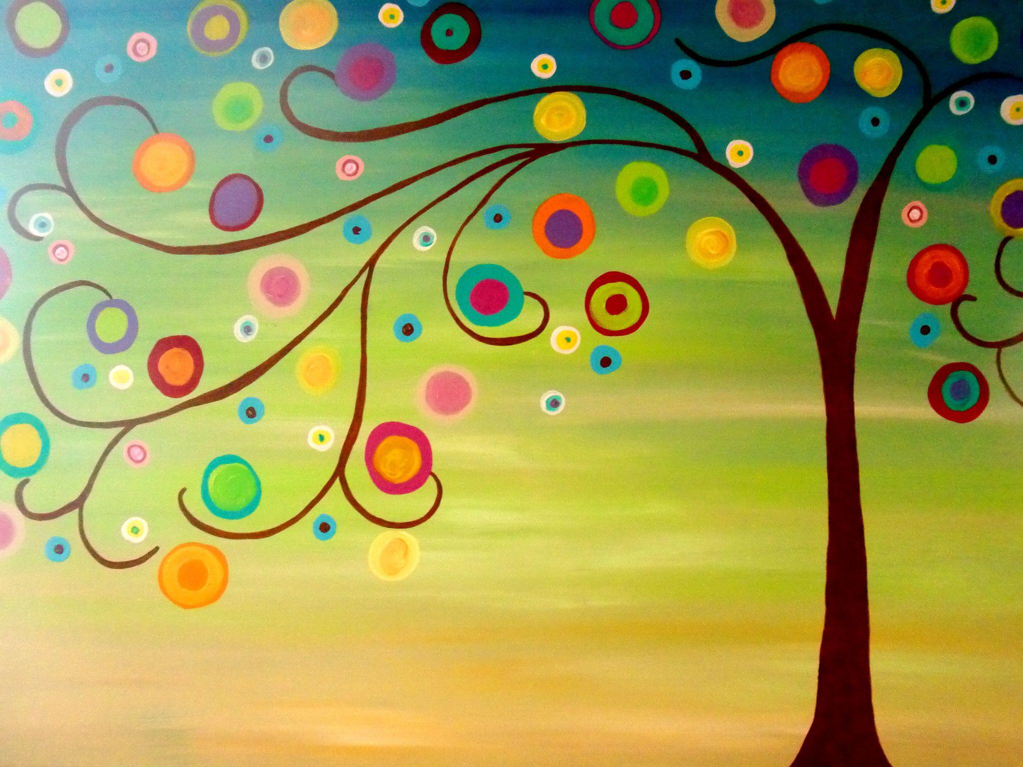 circle tree painting | circle-tree-painting | Malen | Pinterest ...