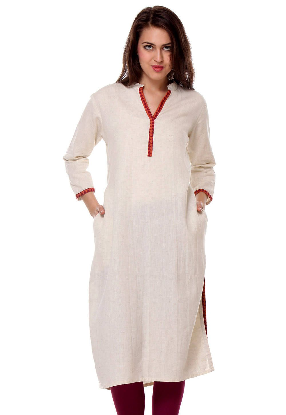 5e4a735420 PLAIN COTTON FLEX LONG KURTA IN OFF WHITE | tops and kurtis | Salwar ...