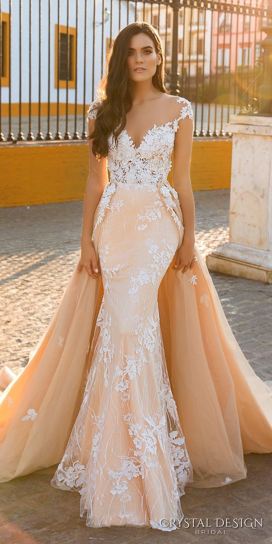 Crystal design bridal cap sleeves deep sweetheart neckline