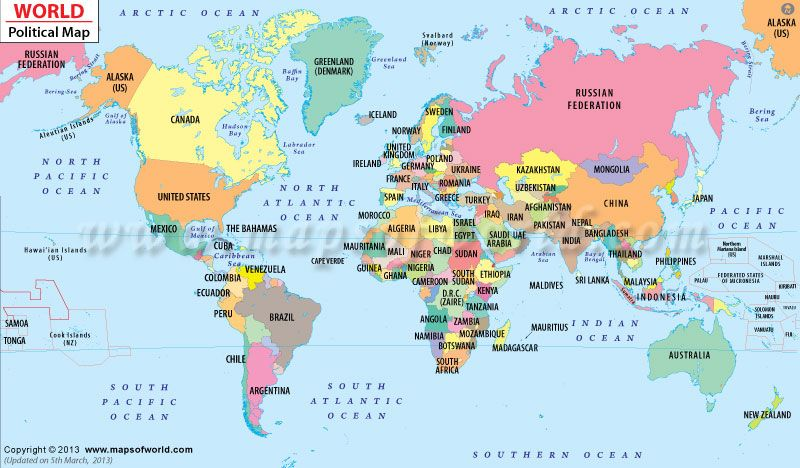 Political Map of the World good for explaining and having kid ...