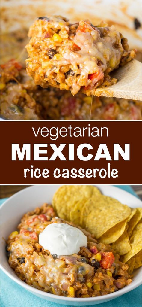This vegetarian mexican rice casserole makes enough to feed a crowd and tastes AMAZING  perfect for meatless monday