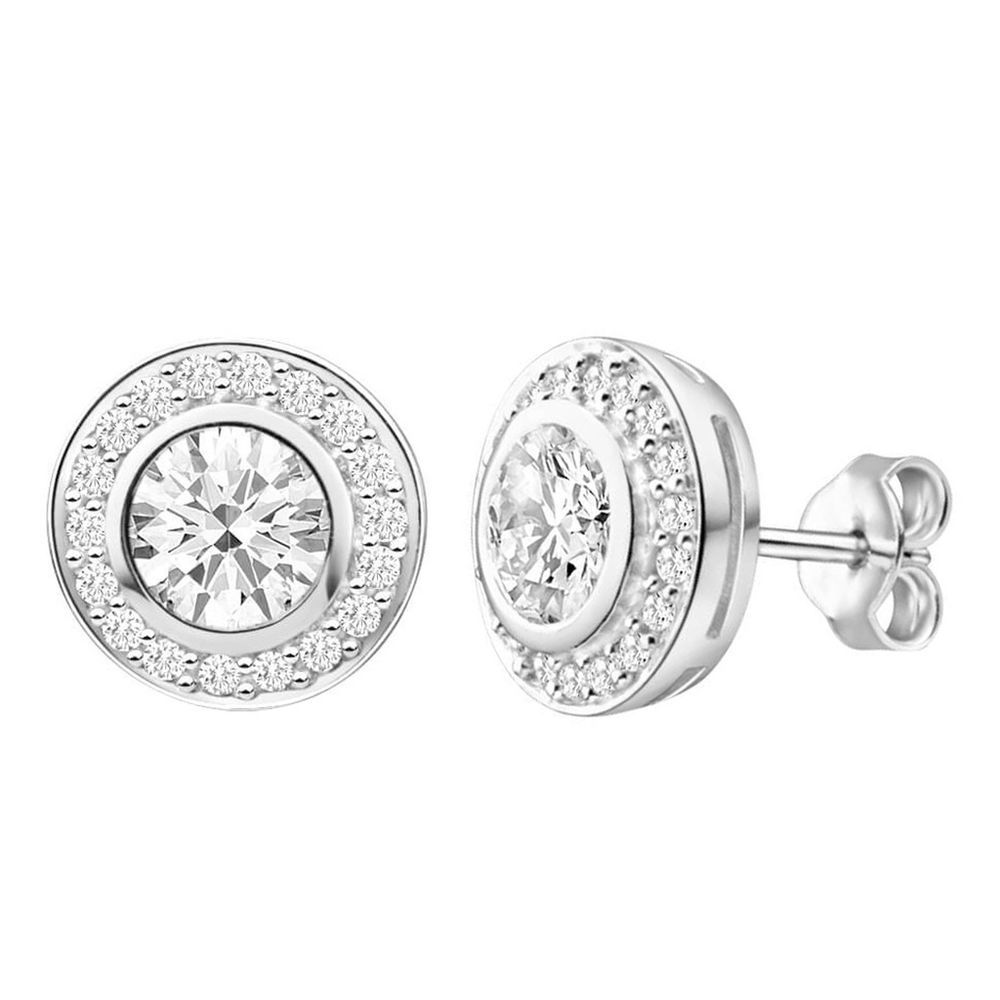 Round D Vvs1 Man Made Diamond Halo Stud Earrings In 14k White Gold Siover