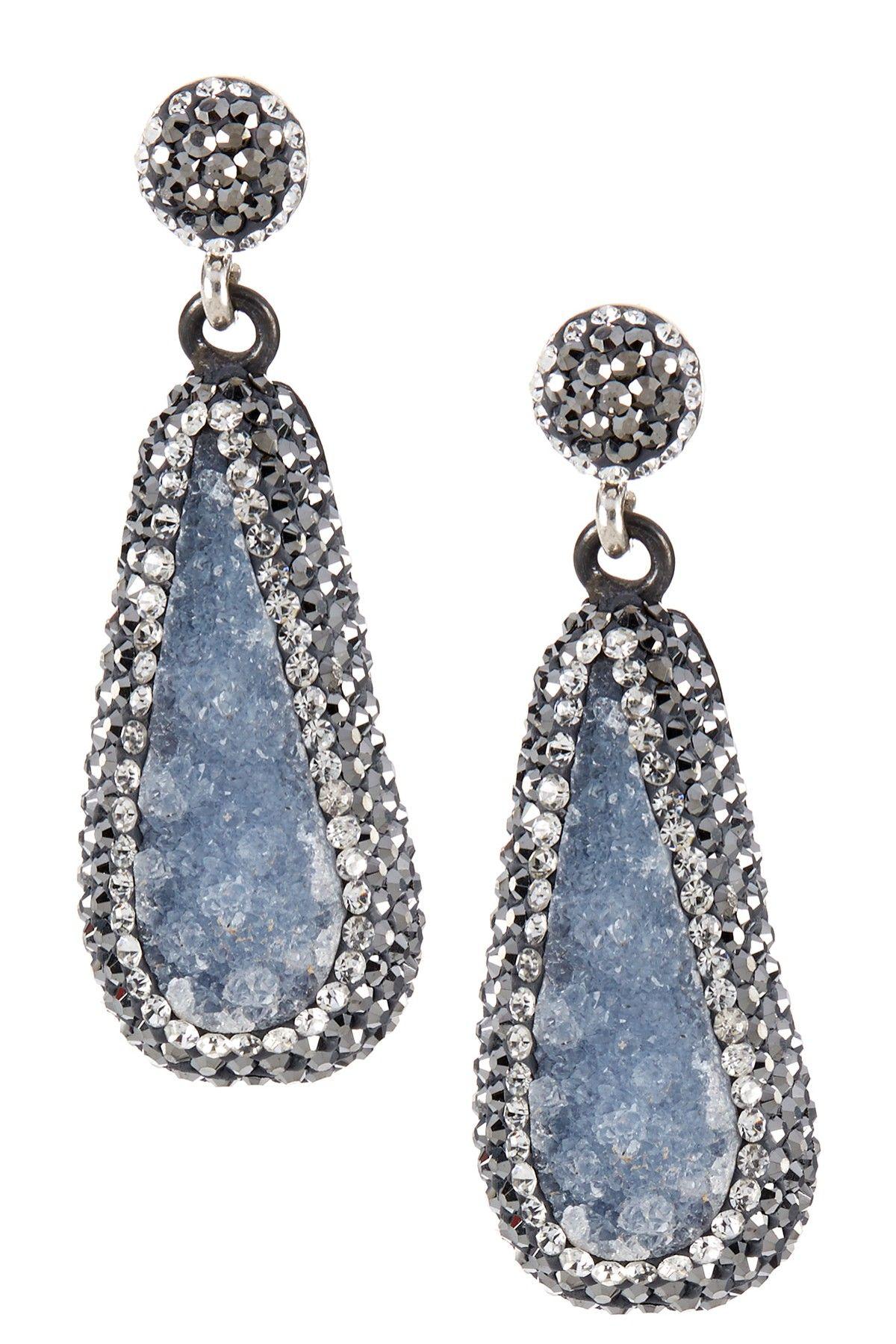 Crystal Trimmed Stone Drop Earrings