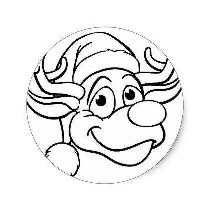 santa hat christmas reindeer classic round sticker round stickers and santa hat
