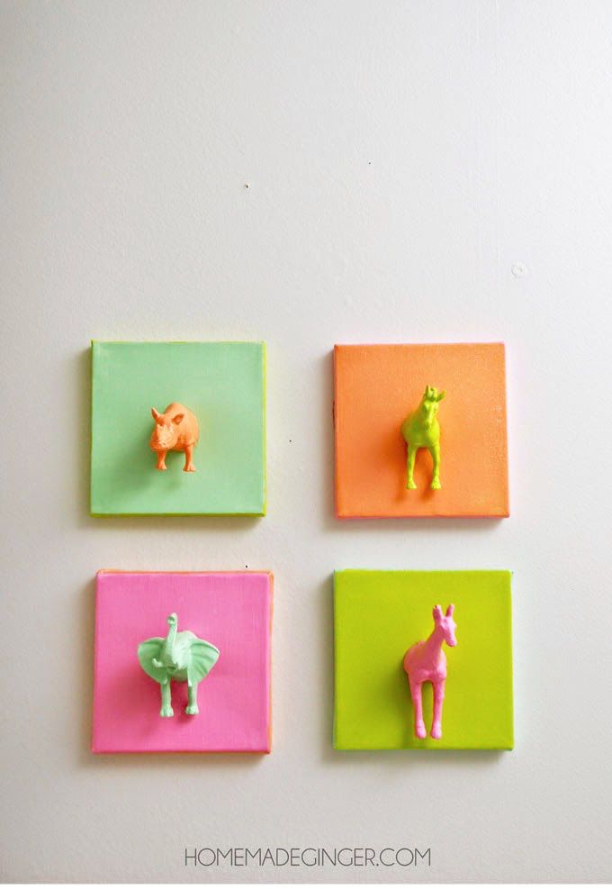 Marvelous Canvas Craft Ideas For Kids Part - 7: Mini Plastic Animals DIY Canvas Art