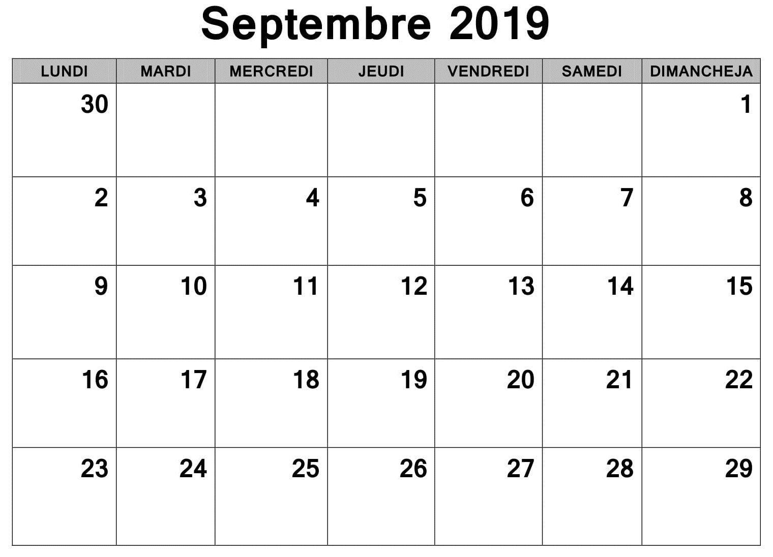 Calendrier Mois De Septembre.Calendrier 2019 Mois Septembre A Imprimer Diy