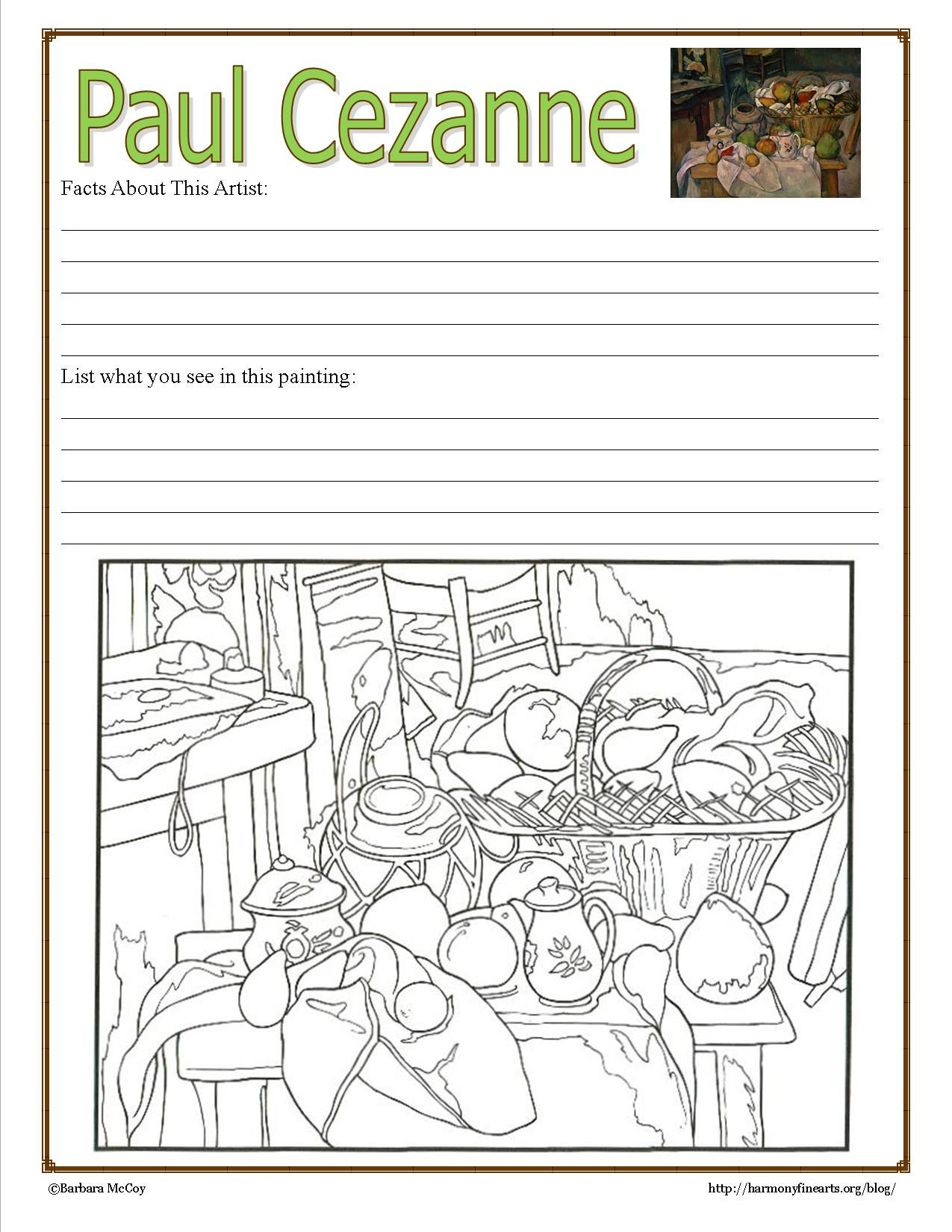 cezanne notebook page intimate impressionist coloring pages