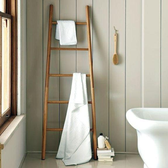 Elegant Rustic Cottage Bathrooms With Towel Ladder | ...   Wooden Towel Ladder In  Both